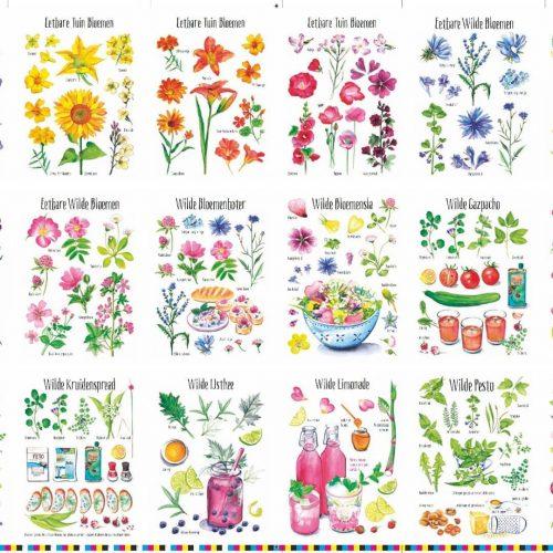 wildpluk- en eetbare bloemen kaarten