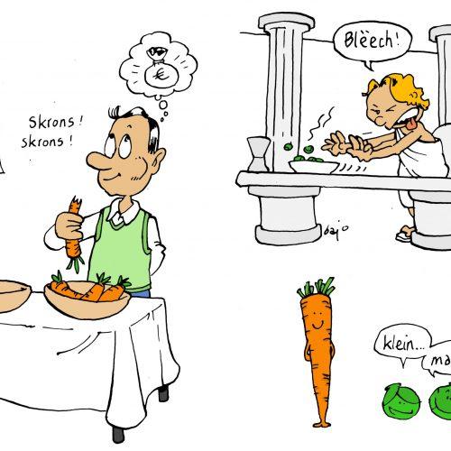 groente met een verhaaltje kaarten